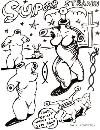Daniel Johnston, Untitled (ML-11), 1990s, ink on paper, 8.5x11 inches