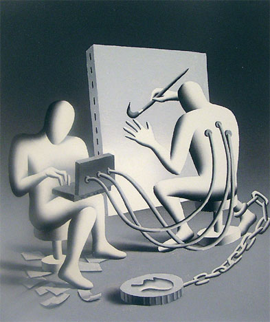 Mark Kostabi, Chain of Desire, 2005, oil on canvas, 23 5/8x19 3/4 inches