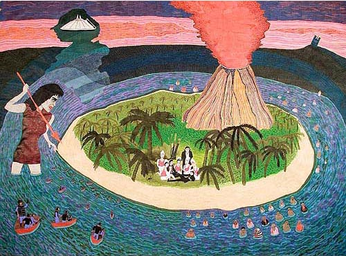 Beatriz Monteavaro, Have You Found... The Lost Hawaiians?, 2006, acrylic, ink and gel pen on paper, 98x130 inches