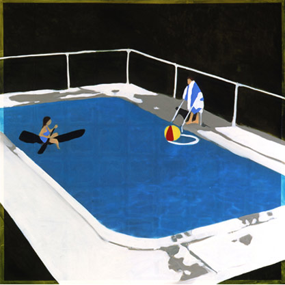 Icsa Greenfield-Sanders, Swimming Pool with Ball, 2006, mixed media oil on canvas, 63x63 inches