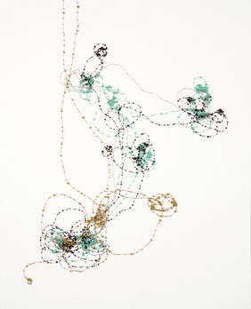Janice Caswell, Broken Verses, ink, paper, pins, beads, enamel on paper, 25x31.5 inches