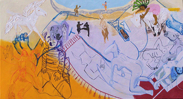 Nicole Maynard, Women Fight Back, 2005, oil on canvas, 44x84 inches
