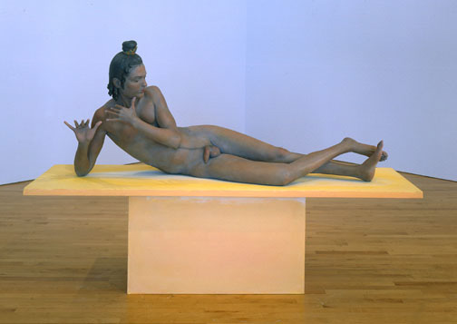 Jody Fox, Krishna, 2001, bonded marble with casein paint, 30x68x20 inches