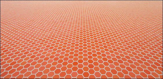 Sara Eichner, red hexagons, 2006, oil on panel, 40x82 inches