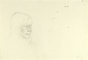 Andrew Wyeth, Her Daughter, 1972, pencil on paper, 19.75x30.75 inches