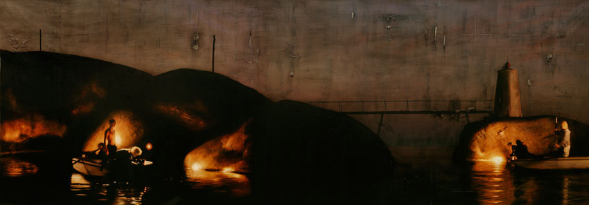 Per Fronth, Bridge / Teenage Lux (archipelago), mixed media/oil on canvas, 184x65 inches