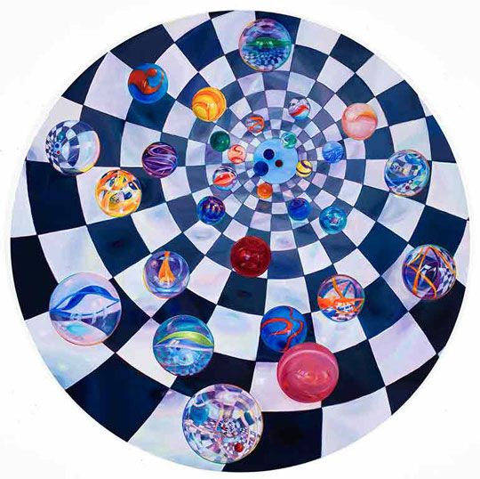 Lisa Dinhofer, Kaleidoscope, 2009, oil on wood panel, 48 inches diameter