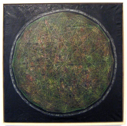 Mark Dagley, Distressed Orb, 2009, oil on linen, 30x30 inches