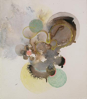 Julie Evans, Umbilcumdom, 2008, acrylic and gouache on paper, 11.5x10 inches