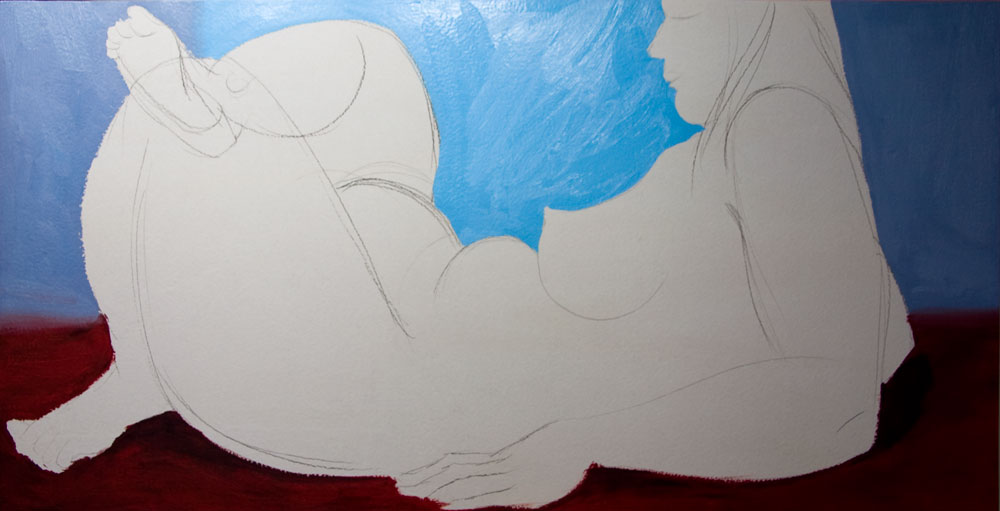 Chris Rywalt, Reclining Nude (in progress), 2009, oil on panel, 48x24 inches