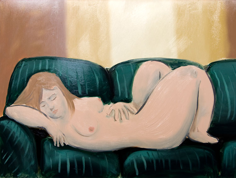 Chris Rywalt, On the Sofa, 2009, oil on panel