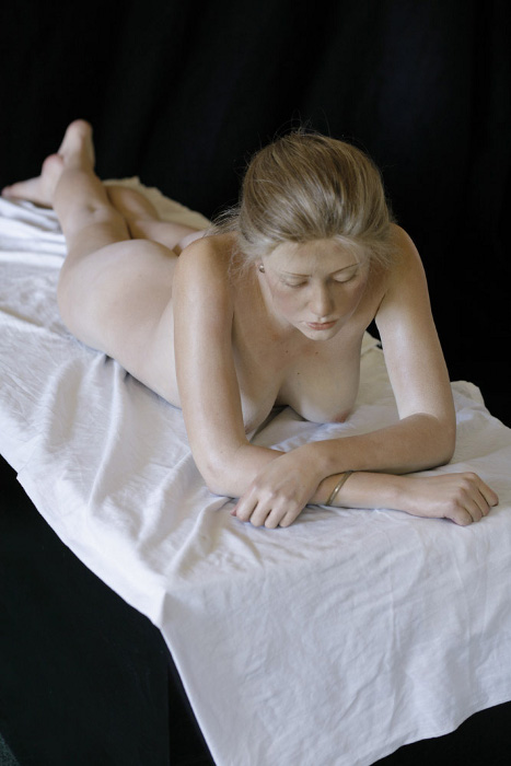 John DeAndrea, Amber Reclining, 2006, painted bronze with mixed media, life-size