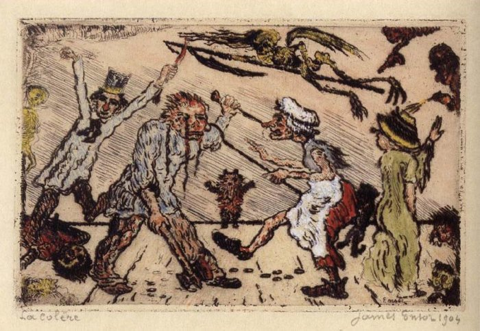 James Ensor, La Colere, 1904, etching from a copper plate, with hand coloring, on ivory wove paper, 93 x 144 mm (image)