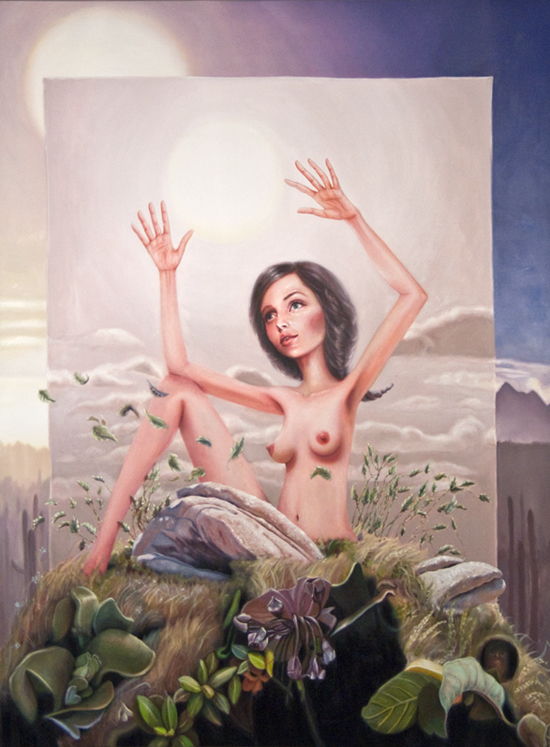 Alison Blickle, Sets Up, 2009, oil on canvas, 80x60 inches